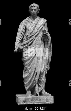 Caesar Octavianus Augustus roman emperor adopted son of Julius Caesar. Isolated statue on black - Stock Photo