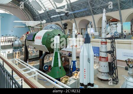 Moscow, Russia - November 28, 2018: Interior of the Space pavilion at VDNH - Stock Photo