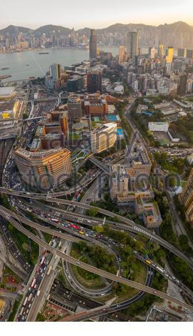 Aerial View of City viaduct traffic at road intersection in Kowloon - Stock Photo