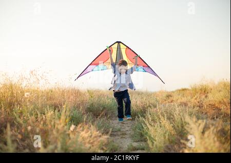 happy active little sport child with color kite in hands running fast among summer green field with blue sky with copy space behind