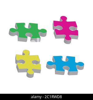 Set puzzle pieces. Texture mosaic background. Vector. - Stock Photo