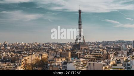 Beautiful panoramic view of Paris from the roof of the Triumphal Arch. Champs Elysees and the Eiffel Tower - Stock Photo