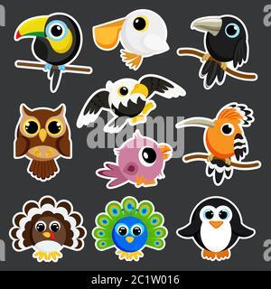 cute birds set sticker template in flat vector style