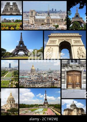 Paris, France - travel photo collage with Eiffel Tower, Notre Dame and Triumphal Arch. - Stock Photo