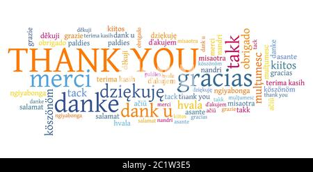 Thank you words graphics. International thank you sign in many languages including English, French, German, Dutch and Polish. - Stock Photo