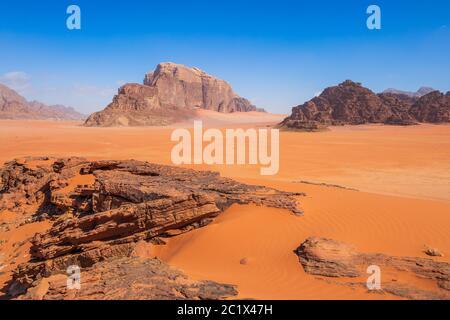 Wadi Rum Desert, Jordan. The red desert. - Stock Photo