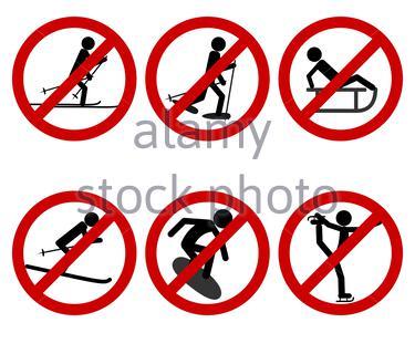 Verkehrsschild Verbot verschiedener Sportarten - Stock Photo