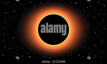 Black hole on black background of planets and stars, vector illustration - Stock Photo