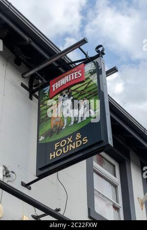 Fox & Hounds pub sign. Ewood, Blackburn. - Stock Photo
