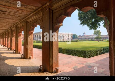 The interior of Agra Fort looking towards the Diwan-i-am (Hall of Public Audiences), Agra, Uttar Pradesh, India