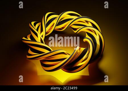 Complex intertwined abstract object in black and gold - concept for solving of complex problems - beauty in mathematics