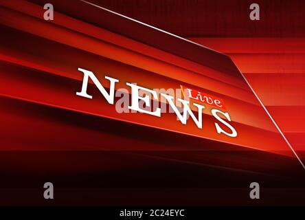 Graphical Live News Background, Red Theme Background. 3d Illustration, 3d Render - Stock Photo