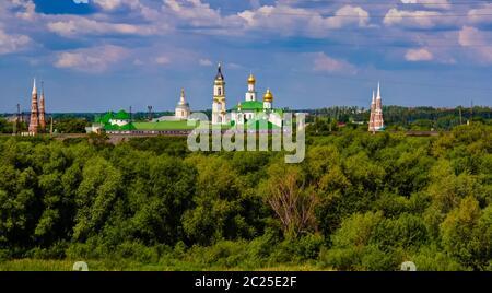 Aerial View to Epiphany Staro-Golutvin cloister, Kolomna, Moscow region, Russia - Stock Photo
