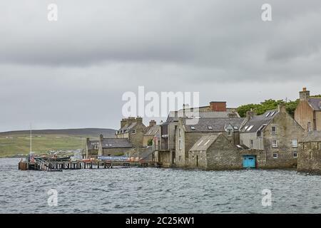 Lerwick town center under cloudy sky, Lerwick, Shetland Islands, Scotland, United Kingdom. - Stock Photo