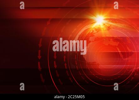 Graphical News Background with World Map and Round Circles and Direction Around the Erath Globe. Red Theme Background. 3d illustration, 3d render - Stock Photo