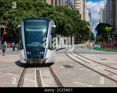 RIO DE JANEIRO, BRAZIL - MARCH 18, 2016 - New Rio de Janeiro tram in test in Maua square (praca Maua) - Stock Photo