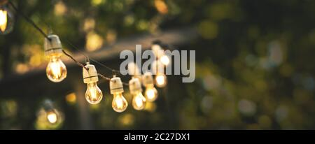 outdoor party string lights hanging in backyard on green bokeh background with copy space - Stock Photo