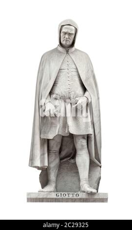 Giotto di Bondone statue on facade of Uffizi Gallery created by Giovanni Dupre in 1845. Isolated on white background with clipping path. - Stock Photo