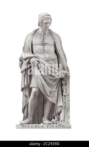 Niccola Pisano statue on facade of Uffizi Gallery created by Pio Fedi in 1849. Isolated on white background with clipping path. - Stock Photo