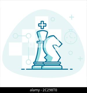 Chess strategy vector concept. Template for Chess lessons or Chess tournament - Stock Photo