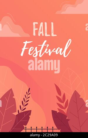 Fall Festival Poster, Invitation or Flyer. Bright autumn leaves on orange background with flat leaves.  Stock Photo