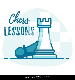 Chess lessons vector concept. Template for Chess club or Chess school. - Stock Photo