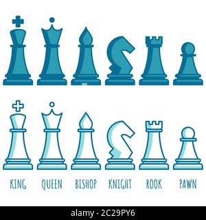 Chess pieces line collection. Chess game icon set. Simple flat set of chess game. - Stock Photo