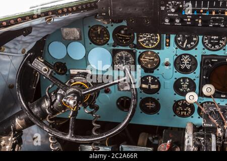Istanbul, Turkey, 23 March 2019: Cockpit of Douglas DC-3 at Rahmi M. Koc Museum on February 11, 2012 Istanbul, Turkey. Over 16,0 Stock Photo