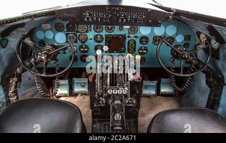 Istanbul, Turkey, 23 March 2019: Cockpit of Douglas DC-3 at Rahmi M. Koc Museum on February 11, 2012 Istanbul, Turkey. Over 16,0 Stock Photo