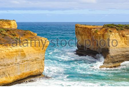The missing middle section of London Bridge - Port Campbell, Victoria, Australia - Stock Photo