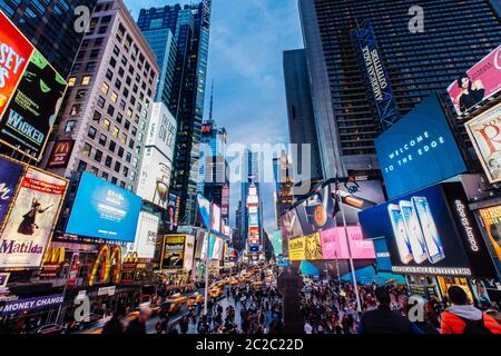 Spring April 2015 Sunset at Times Suqare Manhattan, New York United State - Stock Photo