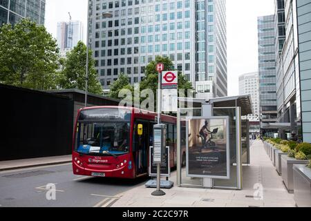 UK's first transparent solar bus shelter at Canada Square, Canary Wharf - Stock Photo