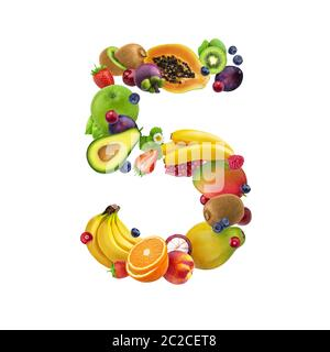 Number five made of different fruits and berries, fruit alphabet isolated on white background - Stock Photo