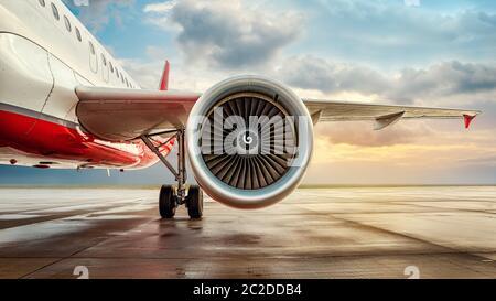turbine of an modern aircraft - Stock Photo