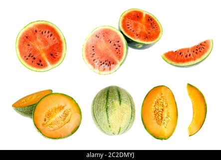 Collection of whole and cut watermelon and honeydew fruits isolated on white background. Set of different slices - Stock Photo
