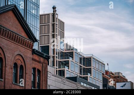 Close view of  building exterior of modern and old buildings in Chelsea New York City