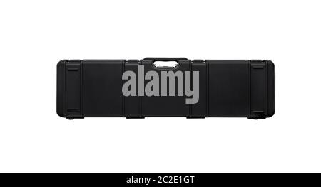 Hard plastic case for storing and transporting weapons. Black gun case with foam inside isolate on a white background. - Stock Photo
