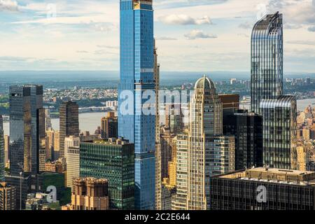 Midtown and Upper West Side skyscrapers view from rooftop Rockefeller Center - Stock Photo