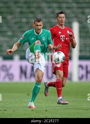 Bremen, Germany, 16th June 2020  Maximilian Eggestein (Werder Bremen) gegen Robert Lewandowski (FC Bayern München). SV WERDER BREMEN - FC BAYERN MUENCHEN in 1. Bundesliga 2019/2020, matchday 32. © Peter Schatz / Alamy Live News / Cathrin Müller/M.i.S./ Pool    - DFL REGULATIONS PROHIBIT ANY USE OF PHOTOGRAPHS as IMAGE SEQUENCES and/or QUASI-VIDEO -   National and international News-Agencies OUT  Editorial Use ONLY