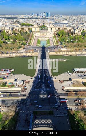 Paris, France, March 30, 2017: Shadow of eiffel tower. City panorama. View from Eiffel tower with shadow. Beautiful view of the - Stock Photo