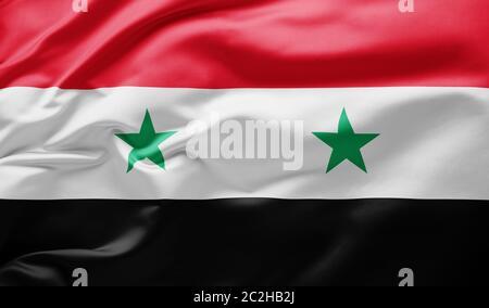 Waving national flag of Syria - Stock Photo
