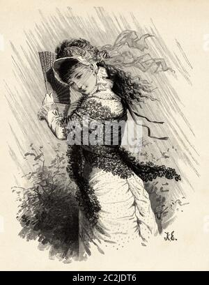 Beautiful painting of a 19th century lady covering herself from the rain by Knut Alfred Ekwall (1843 - 1912) Swedish painter and illustrator. Old 19th century engraved illustration, El Mundo Ilustrado 1880 - Stock Photo