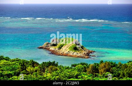 Smal Islet, View, From Tamatorizaki Observation Platform, Ishigaki, Yahema Islands, Okinawa, Japan