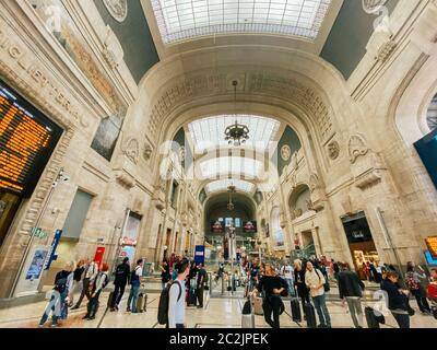September 27, 2019. Arrival hall Milano Centrale railway stration of Milan, Italy. Milano Centrale Railway Station. Traveling pe