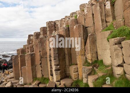 Geometrical basalt columns rock formations at Giant's Causeway, Northern Ireland, Europe