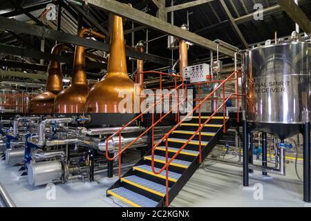 Copper pot stills at the Midleton Distillery Complex in Midleton, County Cork, Republic of Ireland