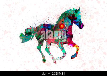 horse galloping in watercolor 01