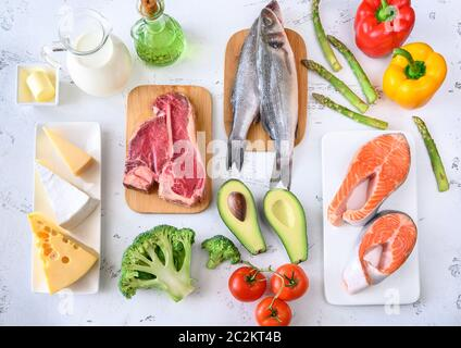 Assortment of food for ketogenic diet on wooden background