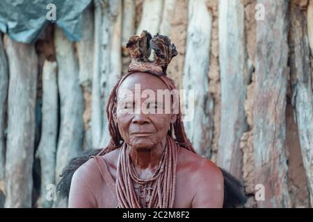 Portrait of old himba woman, Namibia Africa