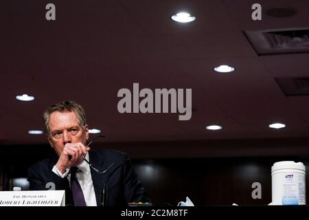 Washington, United States Of America. 17th June, 2020. U.S. Trade Representative Robert Lighthizer listens during a US Senate Finance Committee hearing on US President Donald J. Trump's 2020 Trade Policy Agenda, at Capitol Hill in Washington DC on June 17th, 2020.Credit: Anna Moneymaker/Pool via CNP | usage worldwide Credit: dpa/Alamy Live News - Stock Photo